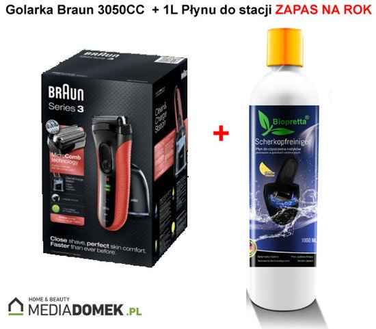 Braun 3050cc Golarka czerwona + Stacja + 1L Biopretta